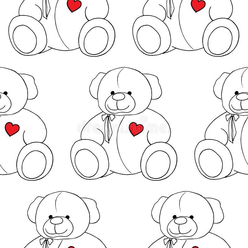För älskvärd monokrom sömlös modell Teddy Bear för tecknad film leksak royaltyfri illustrationer