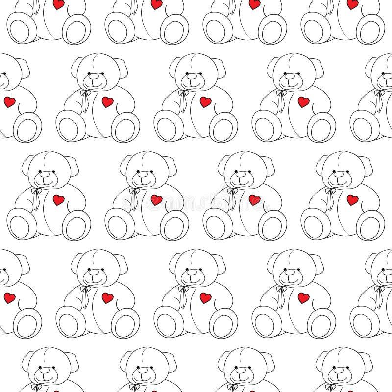 För älskvärd monokrom sömlös modell Teddy Bear för tecknad film leksak vektor illustrationer