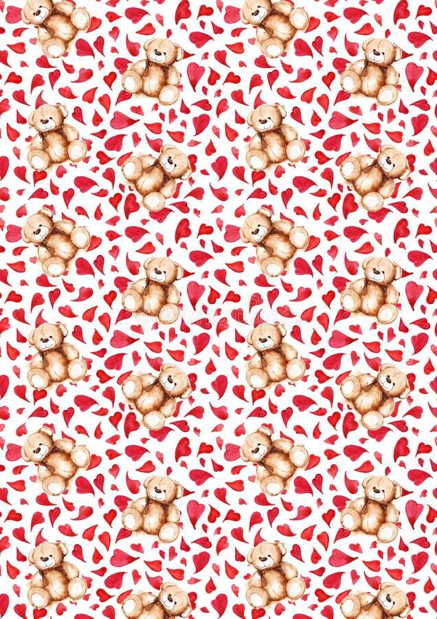 För älskvärd textur för modell för bakgrund för dag för ` s för valentin Teddy Bear för tecknad film hjärta Sankt vektor illustrationer