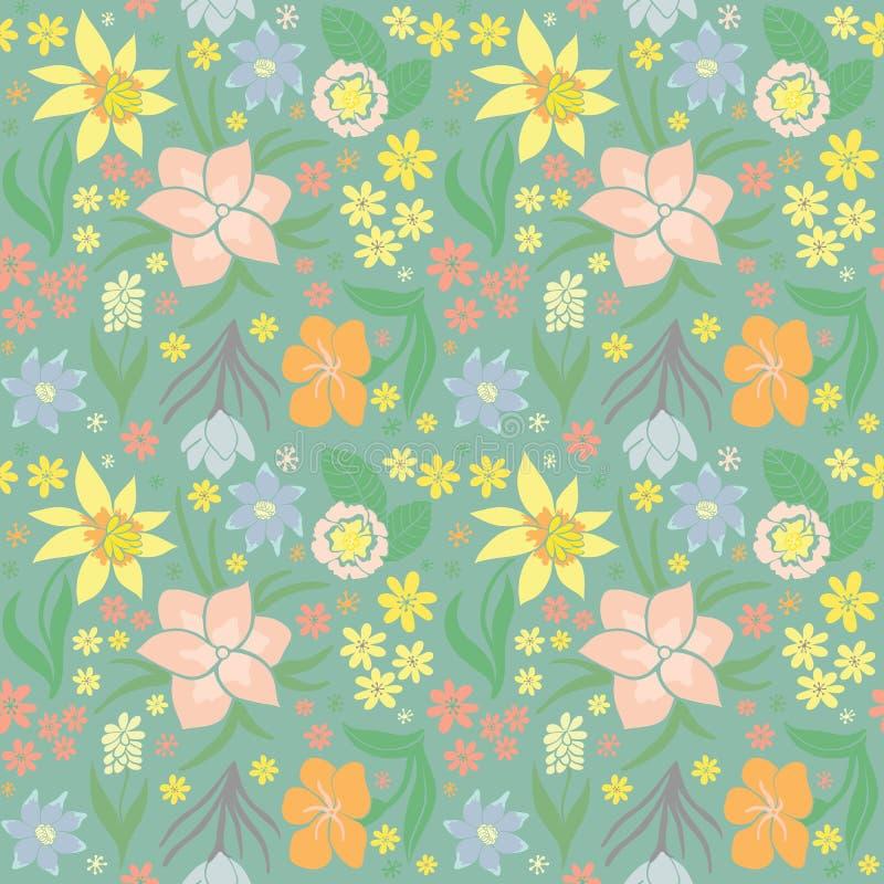 för ändlös tegelplatta för fjäder blommamodell för bakgrund seamless royaltyfri illustrationer
