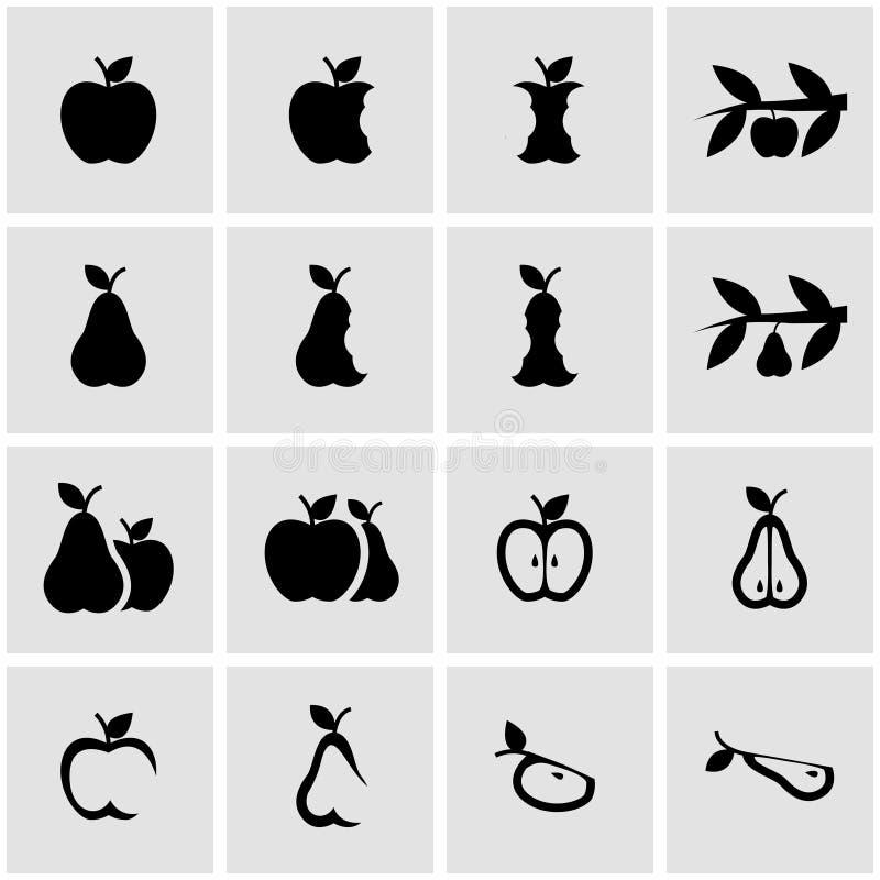 För äpple- och päronsymbol för vektor svart uppsättning vektor illustrationer