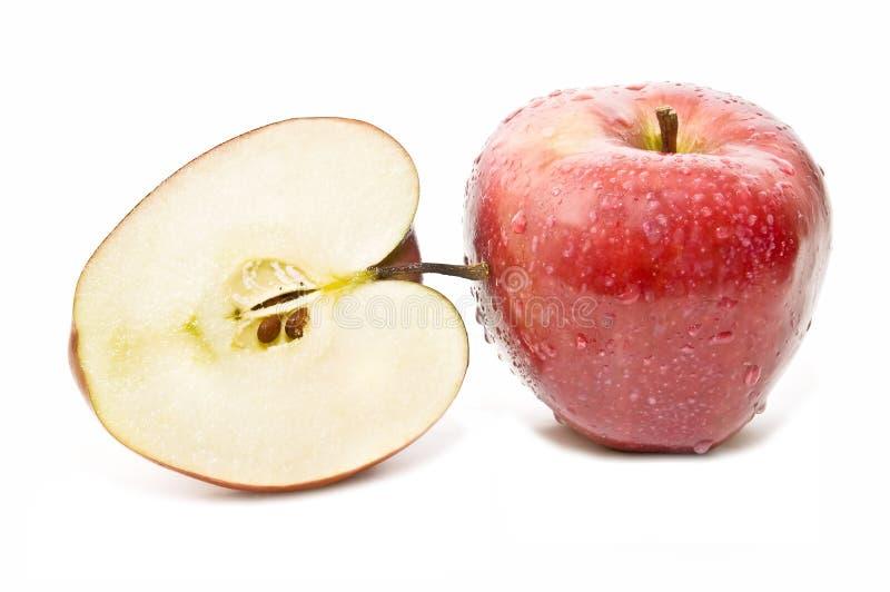 för äpple red half arkivfoton