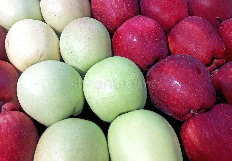 för äpplebakgrundsgreen röd s shopping för specerihandlare royaltyfria foton