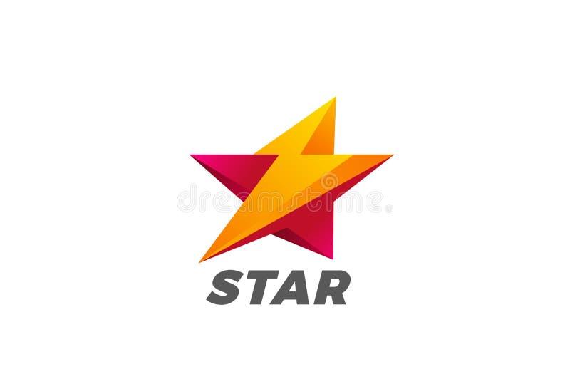 För åskvigglogo för stjärna prålig vektor Hastighetsenergi L stock illustrationer
