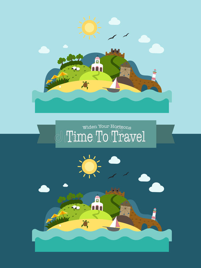 För ölandskap för paradis tropisk vykort för semester royaltyfri illustrationer