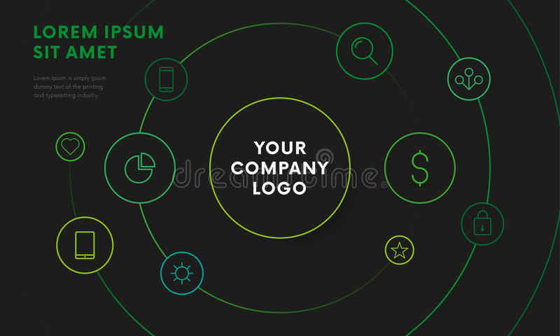 För överblickdesign för företag infographic mall med symboler Cirkeldesign Mörk version vektor stock illustrationer
