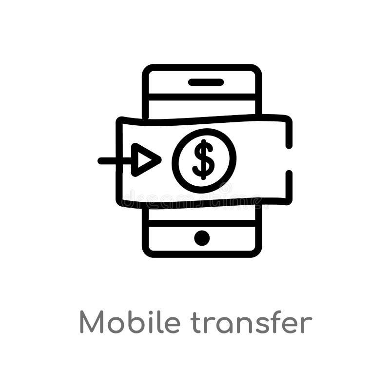 för överföringsvektor för översikt mobil symbol isolerad svart enkel linje beståndsdelillustration från betalningmetodbegrepp Red vektor illustrationer