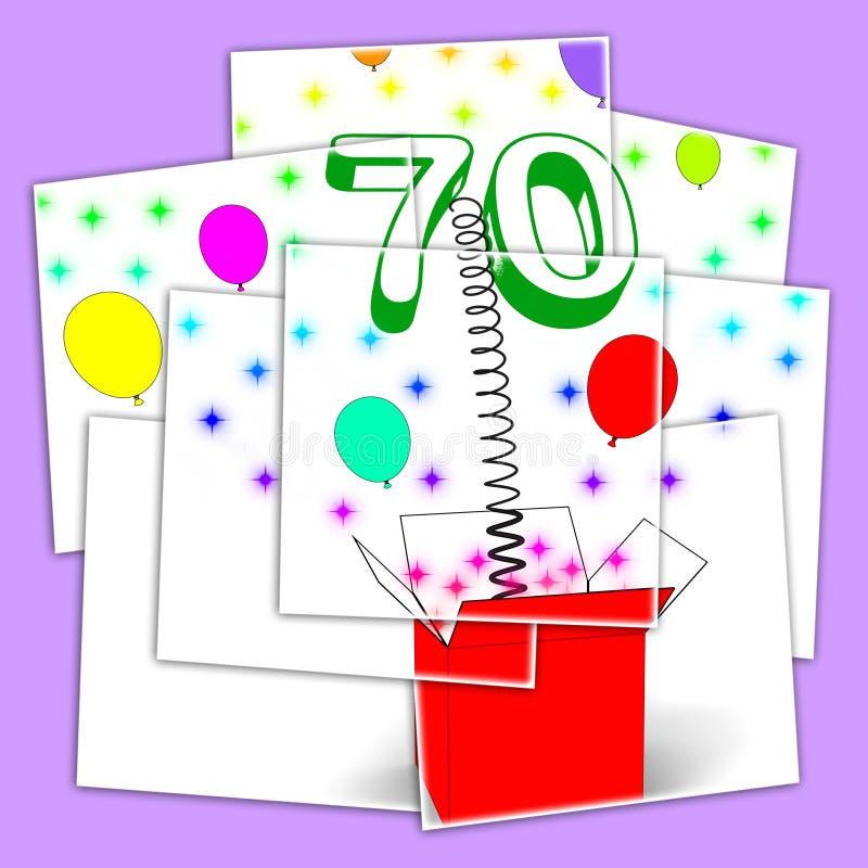 För överraskningask för nummer som sjuttio skärmar mousserar ballonger och Conf vektor illustrationer