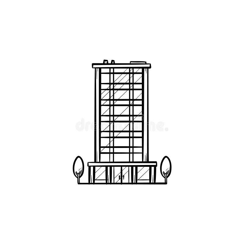 För översiktsklotter för kontorsbyggnad hand dragen symbol vektor illustrationer