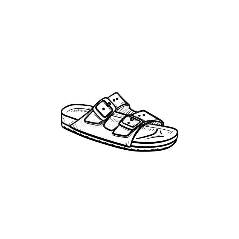För översiktsklotter för sandal hand dragen symbol royaltyfri illustrationer
