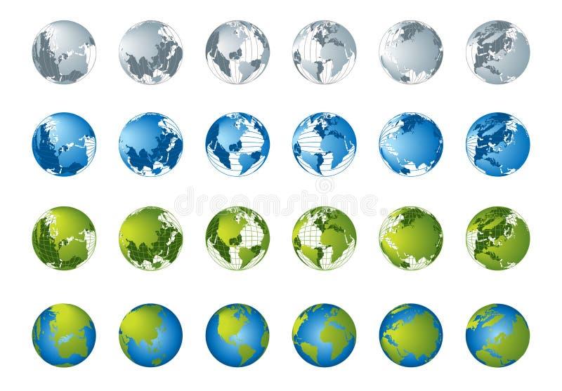 för översiktsserie för jordklot 3d värld stock illustrationer
