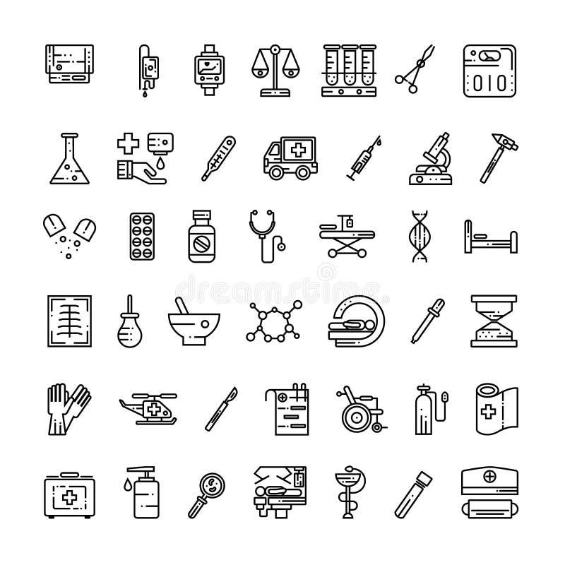 För översiktssymbol för medicinsk utrustning uppsättning royaltyfri illustrationer