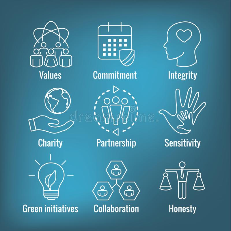 För översiktssymbol för socialt ansvar uppsättning med ärlighet, fullständighet, royaltyfri illustrationer