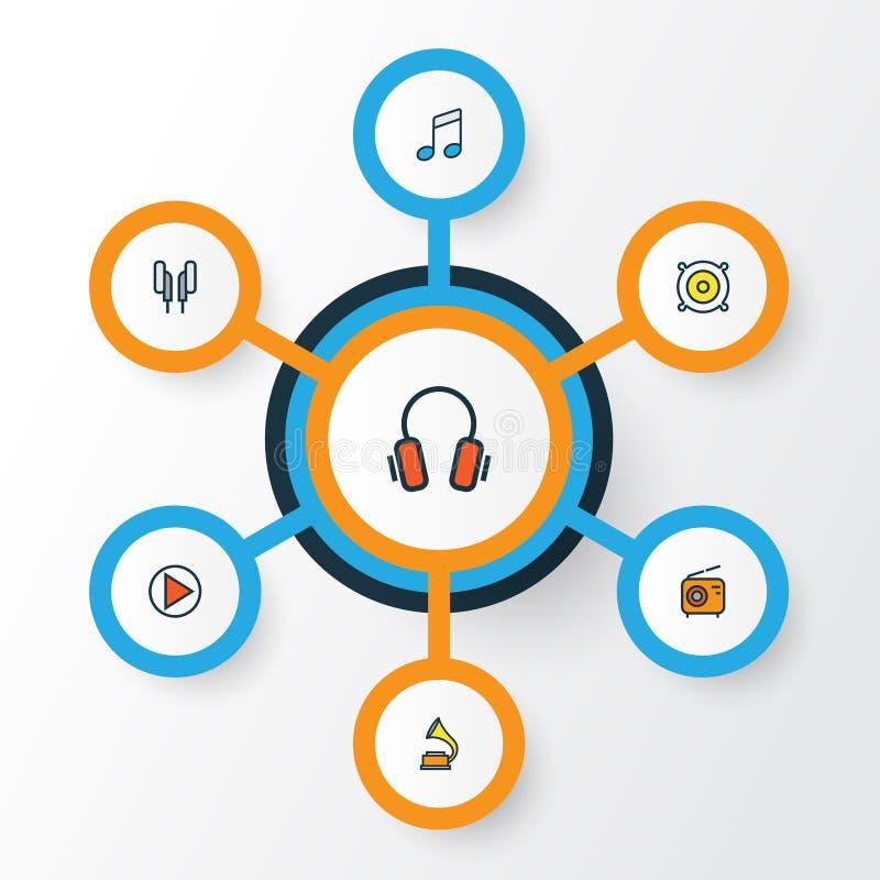 För översiktssymboler för musik färgrik uppsättning Samling av hörlurar, högtalare, lek och andra beståndsdelar Inkluderar också  vektor illustrationer