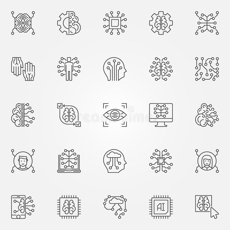 För översiktssymboler för konstgjord intelligens uppsättning Ai-teknologisymboler stock illustrationer