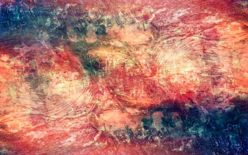 För översiktstextur för abstrakt konstnärlig mångfärgad tappning kraftig bakgrund stock illustrationer
