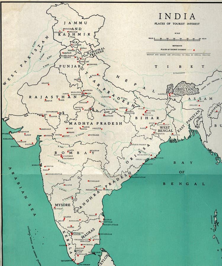 För ÖVERSIKTSvisning för tappning turist- destinationer av-Indien för lopp royaltyfria bilder