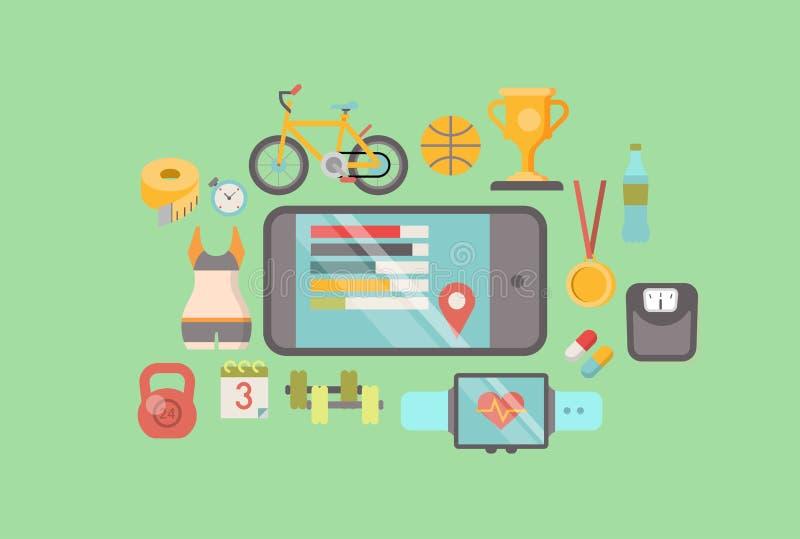 För övningsapp för sport sund mobil vektor för lägenhet för programvara royaltyfri illustrationer