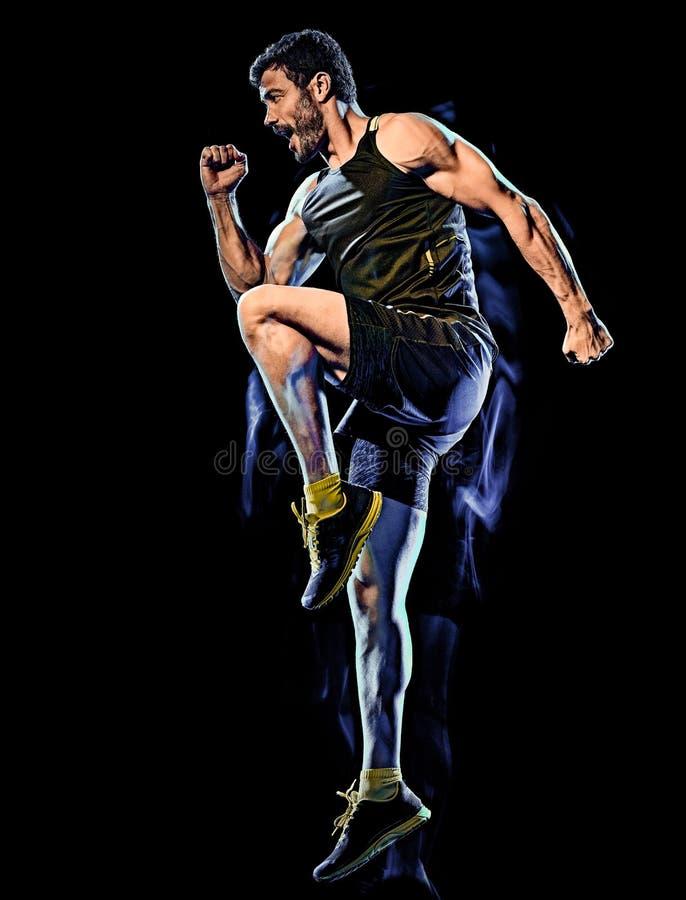För övningskropp för kondition cardio boxas bakgrund för strid isolerad svart man arkivfoto