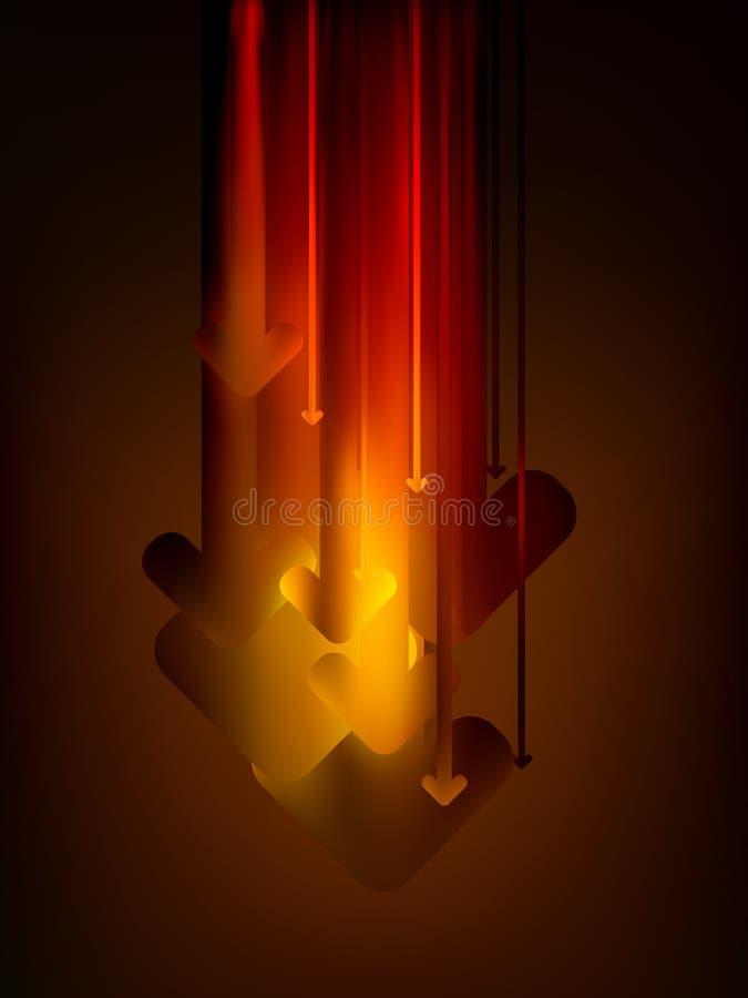 för 8 pilar för färg flyttning för graf för glöd för eps ner vektor illustrationer