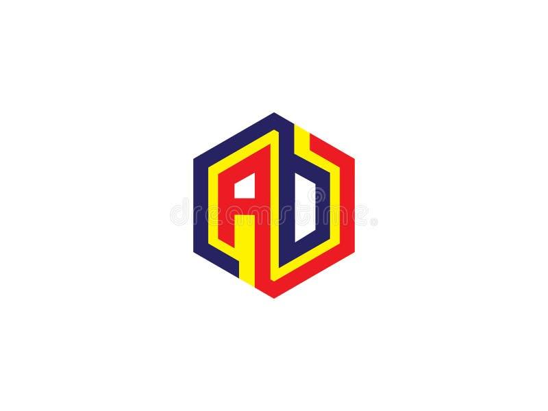 För AB-sexhörning för initial bokstav Logo Vector Graphic Branding Letter för design beståndsdel royaltyfri illustrationer