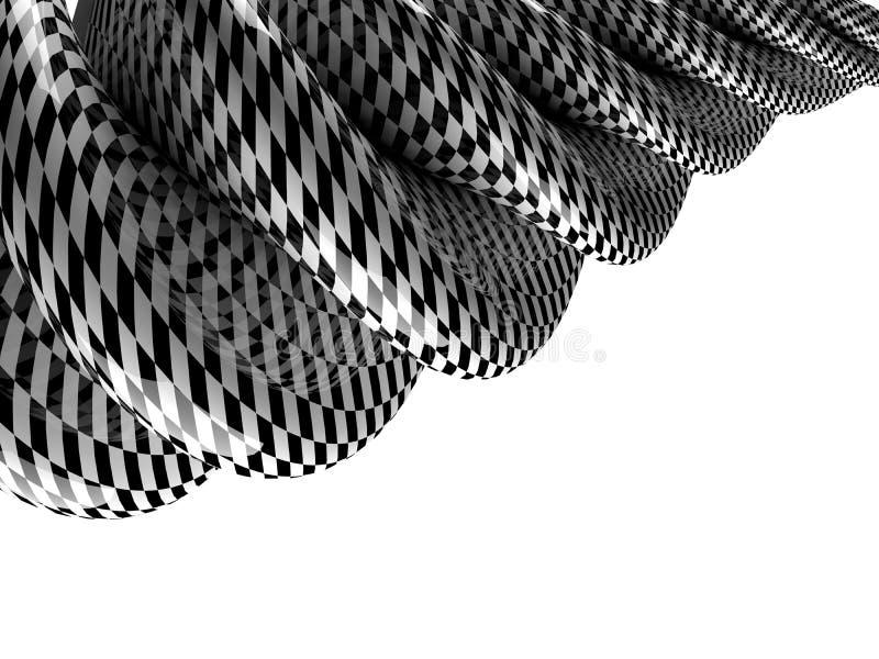 För abstrakt begrepp schackform swirly på vit bakgrund 3d stock illustrationer