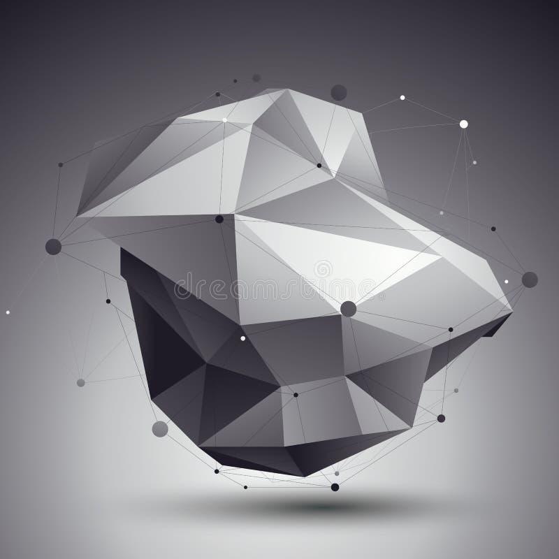 för abstrakt begreppdesign för vektor 3D mall, polygonal invecklat contra stock illustrationer