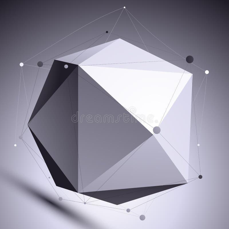 för abstrakt begreppdesign för vektor 3D vetenskaplig mall, sfäriskt complic stock illustrationer