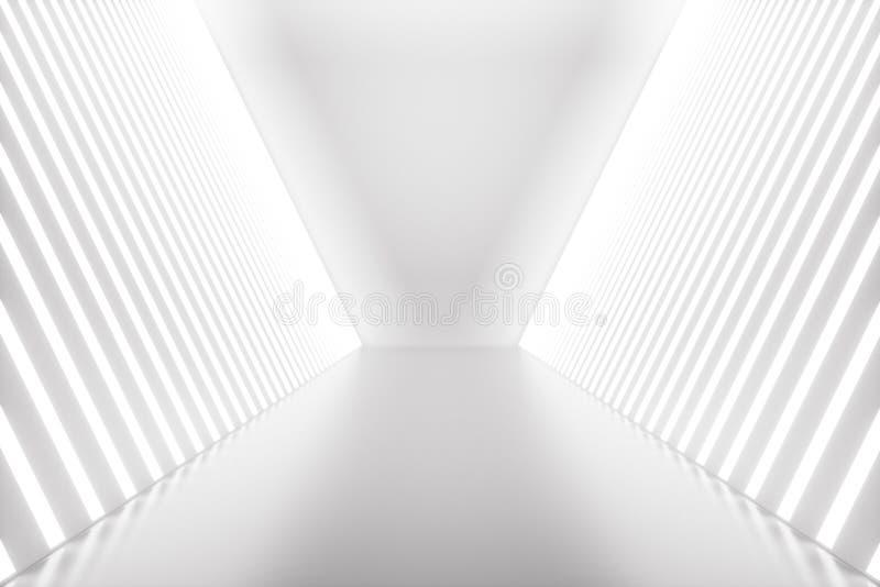 för abstrakt begrepprum för tolkning 3D inre med neonljus futuristic arkitekturbakgrund Modell för din design stock illustrationer