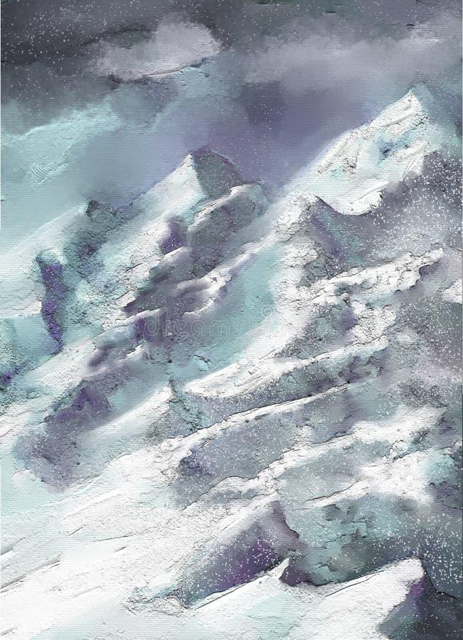 För abstrakt begreppstil för olje- målning konstverk för landskap på kanfas vektor illustrationer