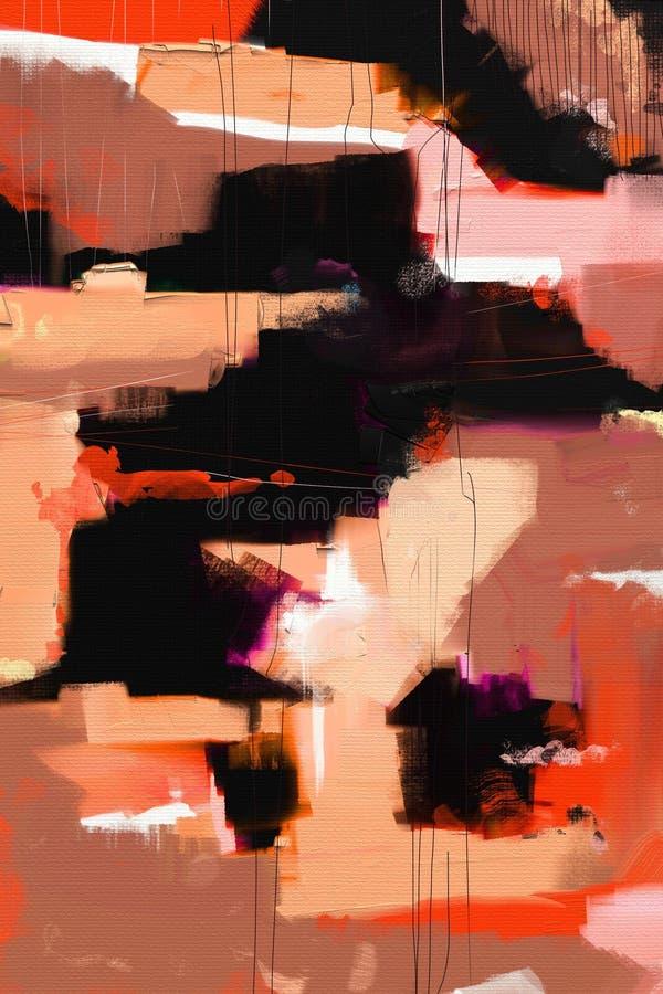 För abstrakt begreppstil för olje- målning konstverk på kanfas royaltyfria bilder