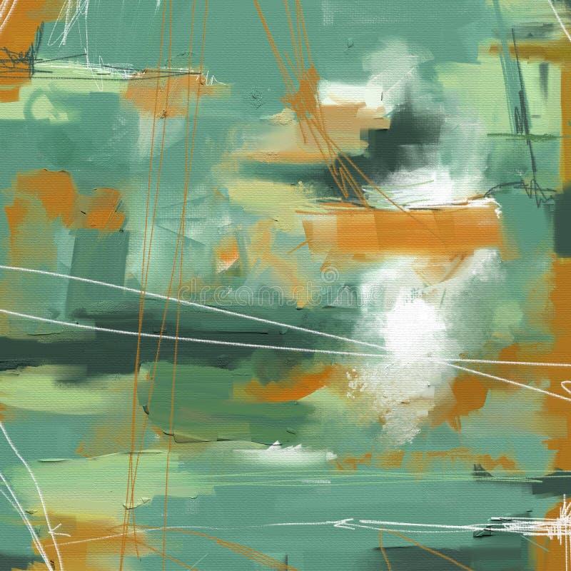 För abstrakt begreppstil för olje- målning konstverk på kanfas stock illustrationer