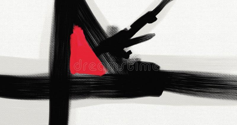 För abstrakt begreppstil för olje- målning konstverk på kanfas vektor illustrationer