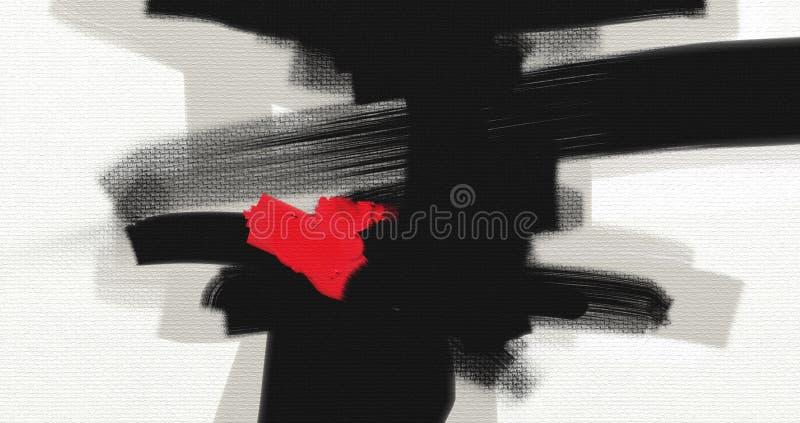 För abstrakt begreppstil för olje- målning konstverk på kanfas royaltyfri illustrationer