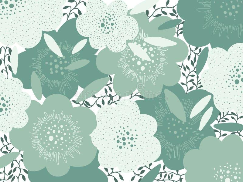 För abstrakt grön pastellfärgad färg blommabakgrund för konst Idérik design för texturhandteckning Modern stiltrend royaltyfri illustrationer