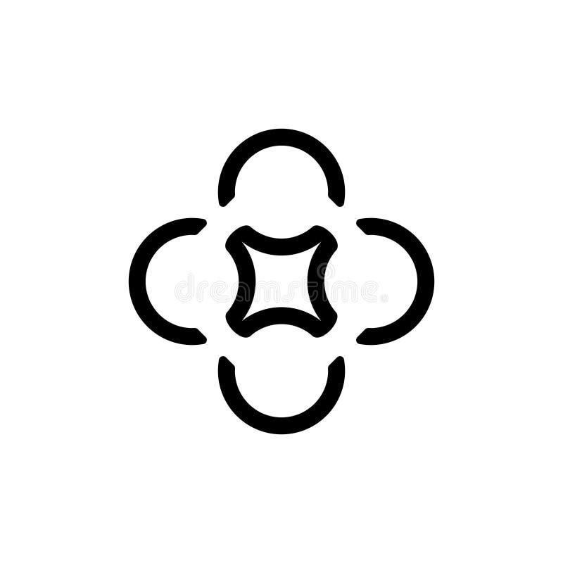 För abstrakt vektor för logo stjärnaform för cirkel geometrisk royaltyfri illustrationer
