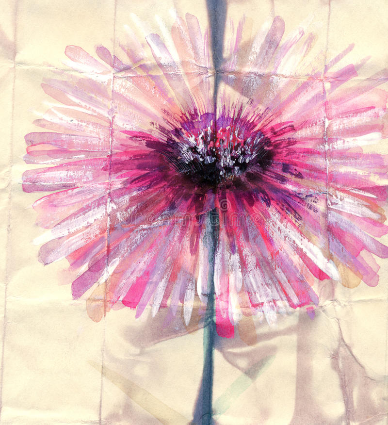 för Adobekorrigeringar hög för målning för photoshop för kvalitet för bildläsning vattenfärg mycket Abstrakt rosa färgblomma stock illustrationer