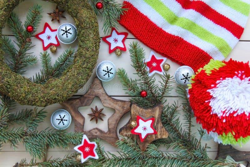 För för adventgarneringar och leksaker för jul och för nytt år begrepp arkivfoto