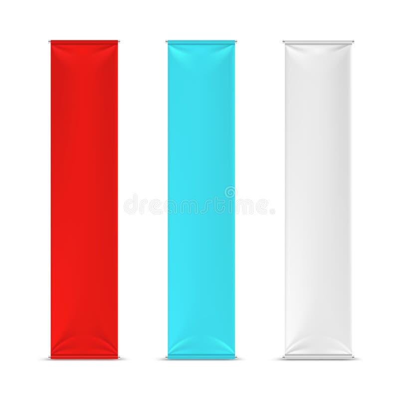 För advertizingbaner för färg tomma vertikala flaggor Vektormodell vektor illustrationer
