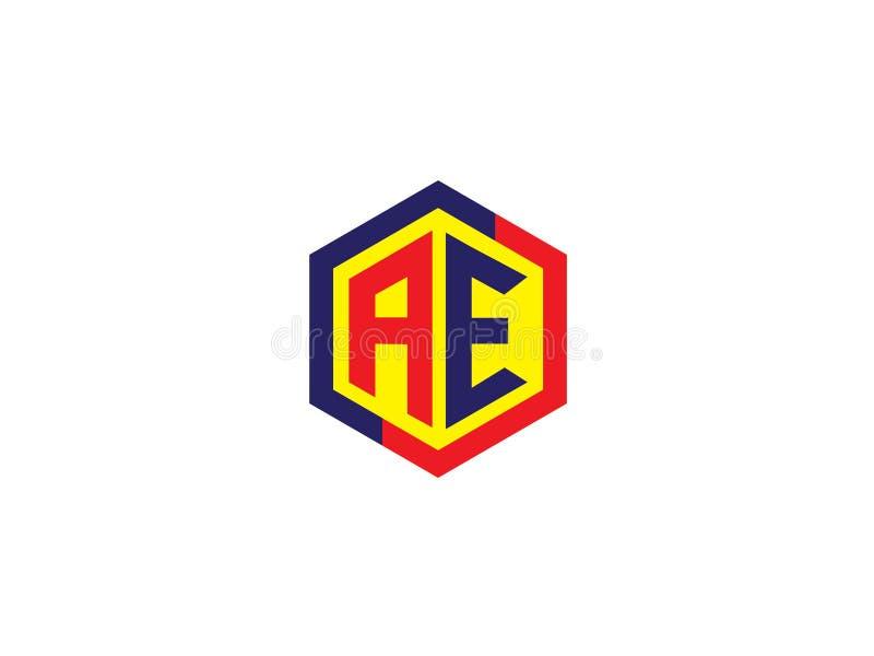 För AE-sexhörning för initial bokstav Logo Vector Graphic Branding Letter för design beståndsdel stock illustrationer