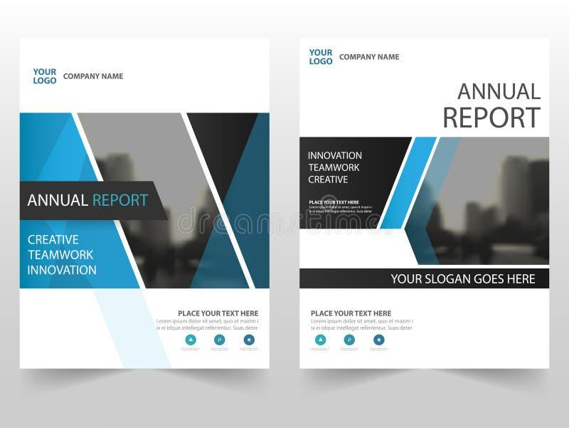 För affärsbroschyr för blå svart design för mall för årsrapport för reklamblad för broschyr, bokomslagorienteringsdesign, abstrak vektor illustrationer