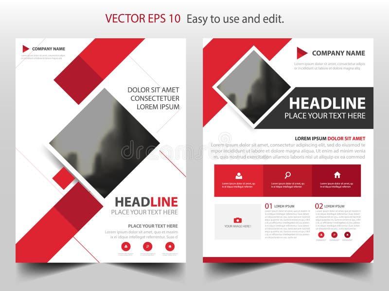 För affärsbroschyr för röd fyrkant design för mall för årsrapport för reklamblad för broschyr, bokomslagorienteringsdesign, abstr stock illustrationer