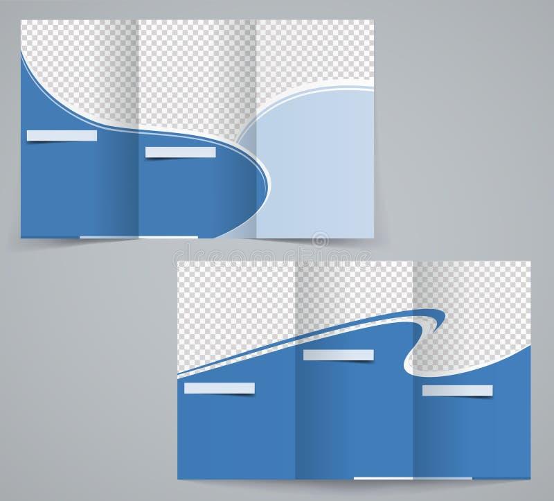 För affärsbroschyr för tre veck mall, företags reklamblad eller räkningsdesign i blåa färger royaltyfri illustrationer