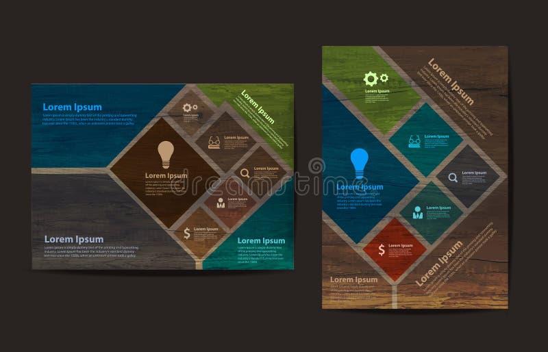För affärsbroschyr för vektor wood mall för orientering för design för reklamblad vektor illustrationer