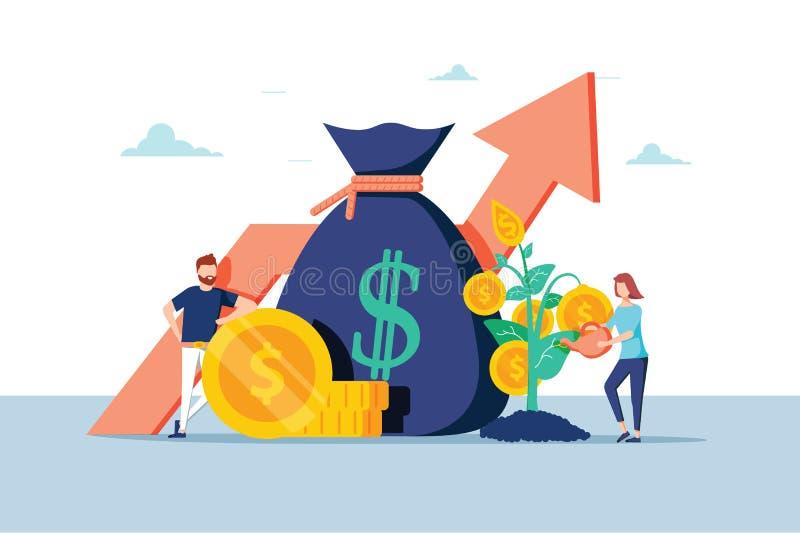 För affärsfolk för investering finansiella ökande huvudstad och vinster Rikedom och besparingar med tecken Förtjänstpengar stock illustrationer