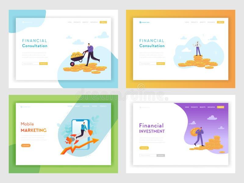 För affärsframgång för finansiell investering mall för sida för landning Mobilt begrepp för marknadsföra strategi med tecken och  vektor illustrationer