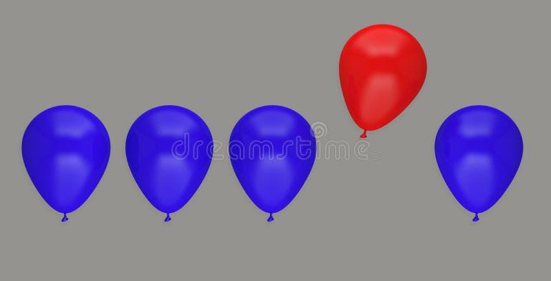 För affärsidé för ballong olikt ledarskap att avlägsna sacrifi stock illustrationer