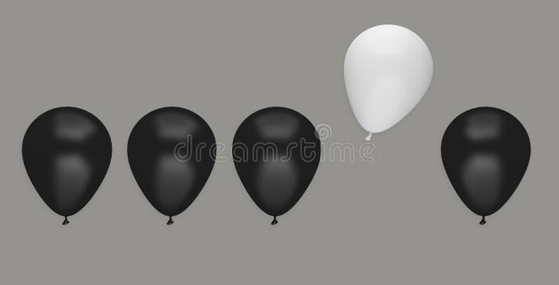 För affärsidé för ballong unikt olikt ledarskap vektor illustrationer