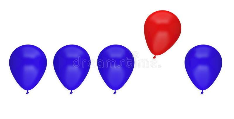 För affärsidé för ballong unikt olikt ledarskap stock illustrationer