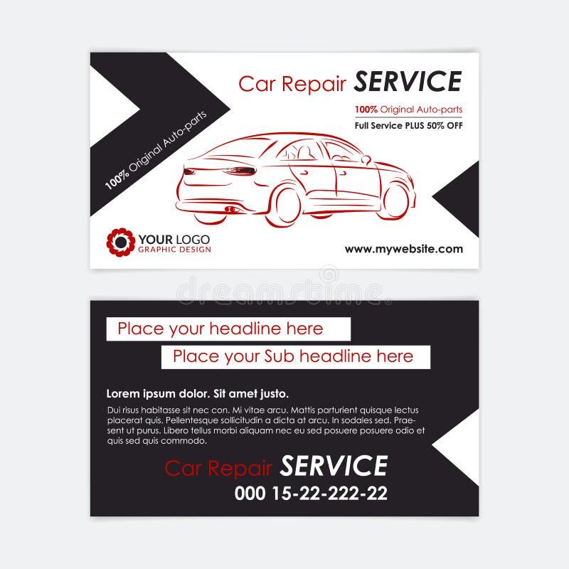För affärskort för auto reparation mall Skapa dina egna affärskort royaltyfri illustrationer